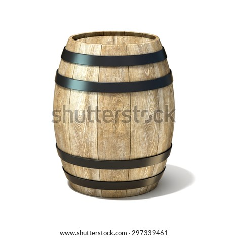Wooden wine barrel. 3D render illustration isolated over white background - stock photo