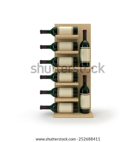 wooden wine stand - stock photo