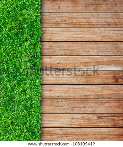 wooden with green grass background - stock photo
