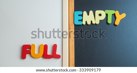 Wooden word FULL and EMPTY on black board and white board