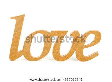 "wooden word ""love"" on white background"