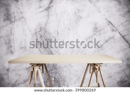 Wooden workshop table isolated on white background. For your product display - stock photo