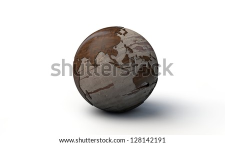 wooden world isolated on white background