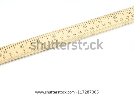 Wooden yardstick or meter stick on white
