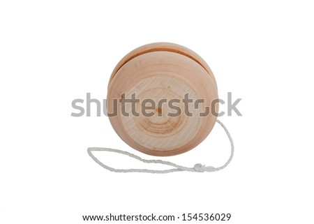 wooden yo-yo toy isolated on white background - stock photo