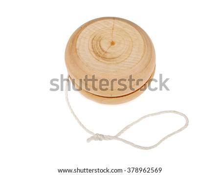 wooden yo-yo toy isolated on white background - stock photo