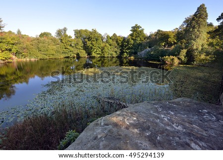 Woodland and dark lake with sandstone rocks