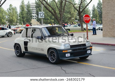 Woodland Hills, CA - Abril 5, 2015: Renault R5 Turbo classic car on display at the Supercar Sunday Pre-1973 Muscle car event. - stock photo