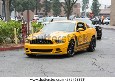Woodland Hills, CA, USA - July 5, 2015: Ford Mustang Boss 302 car on display at the Supercar Sunday car event.