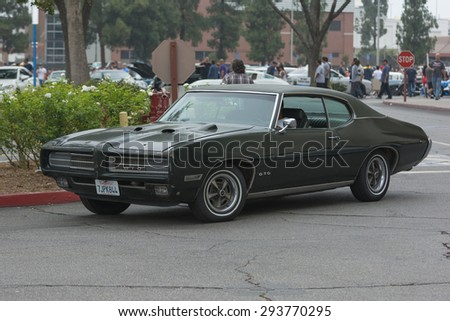 Woodland Hills, CA, USA - July 5, 2015: Pontiac GTO car on display at the Supercar Sunday car event.