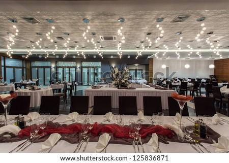 Woodland hotel - Interior of elegant restaurant in a hotel - stock photo