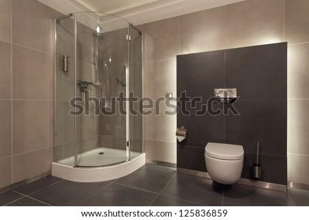 Woodland hotel - Luxurious bathroom interior, wc, shower - stock photo