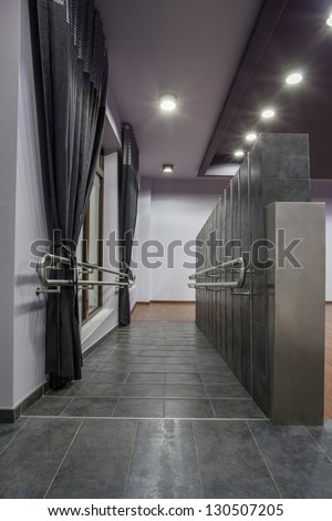 Woodland hotel - wheelchair ramp with banister - stock photo
