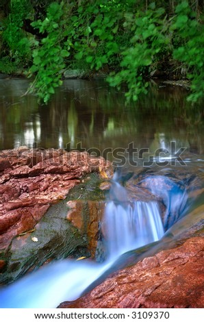 Woodland mountain river stream with water blur and blurred motion leaves - stock photo