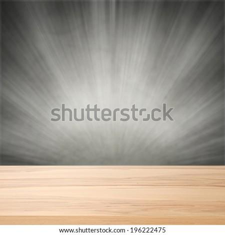 woodne empty desk and gray wall of retro chic  - stock photo