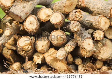 Woodpile of firewood. Chopped firewood for home heating are the woodpiles in the yard. Chopped trees for the fireplace and stoves. Rural yard. - stock photo