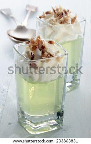 woodruff jelly with whipped cream and chocolate curls in a shot glass - stock photo