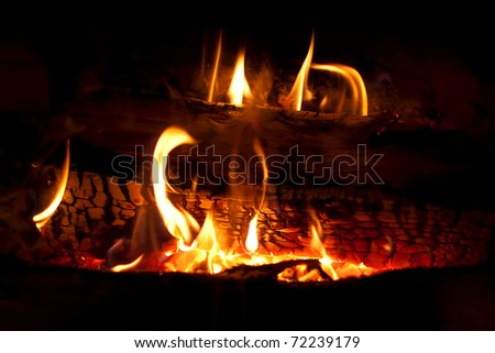 Woods burning in hot fire chimney - stock photo