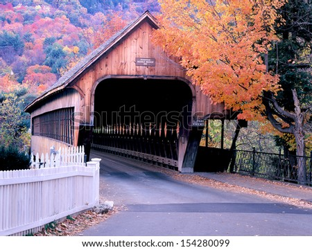 Woodstock Vermont Covered Bridge - stock photo