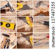 Woodwork and carpentry tools collage - stock photo