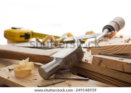 woodworker tools  and shavings on empty space for text - stock photo