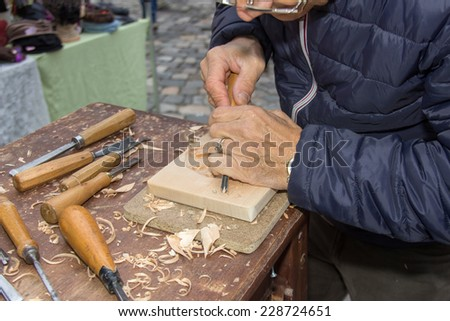 woodworking hand lathe for decorations - stock photo