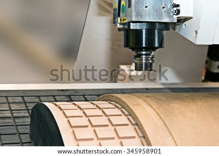Woodworking. Machine for embossing on board