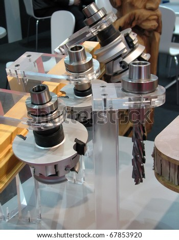 Woodworking machine part. Woodworking tool. - stock photo