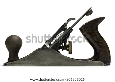 Woodworking smoothing plane - side view - stock photo