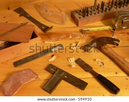 Woodworking Still Life with tools. - stock photo