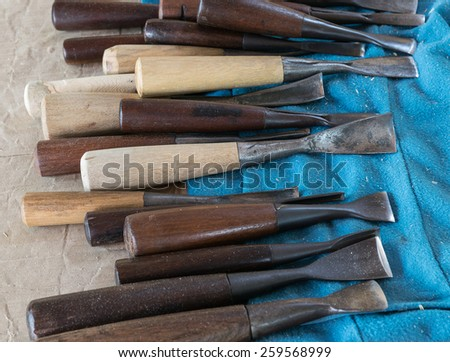 woodworking tools carpentry chisel - stock photo