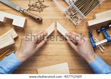 Woodworking workshop table top scene. Making of wooden frame. DIY concept. - stock photo