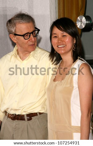 "Woody Allen and Soon Yi Previn  at the Los Angeles Premiere of ""Vicky Cristina Barcelona"". Mann Village Theatre, Westwood, CA. 08-04-08 - stock photo"