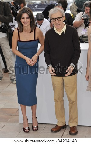 "Woody Allen & Penelope Cruz at the photocall for ""Vicky Cristina Barcelona"" at the 61st Annual International Film Festival de Cannes. May 17, 2008  Cannes, France. Picture: Paul Smith / Featureflash - stock photo"