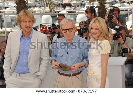 "Woody Allen & Rachel McAdams & Owen Wilson at the photocall for their new movie ""Midnight in Paris"" at the 64th Festival de Cannes. May 11, 2011  Cannes, France Picture: Paul Smith / Featureflash - stock photo"
