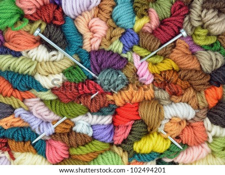 Wool and Needles - stock photo