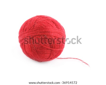 Wool ball isolated on white