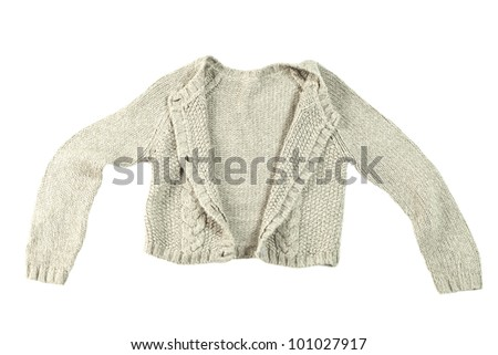 wool cardigan isolated on white background