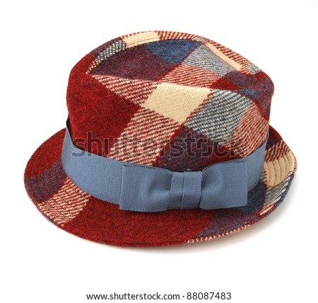 wool checked female hat isolated on white - stock photo