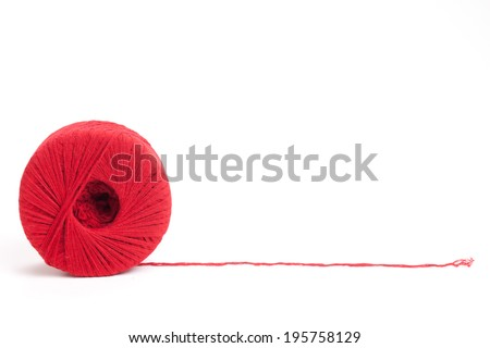 Wool clew,isolated on white background. - stock photo