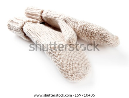Wool fingerless gloves, isolated on white