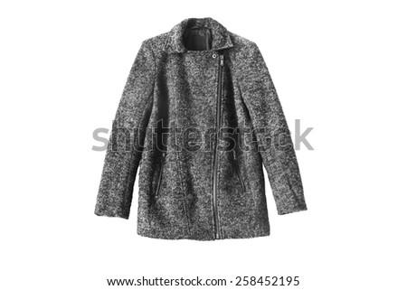 Wool gray zipped coat isolated over white - stock photo