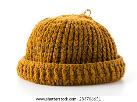 Wool hat on white background - stock photo