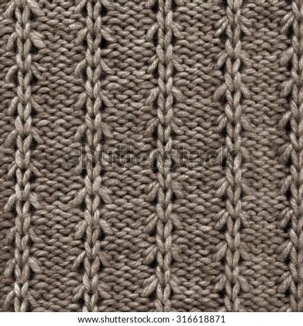 Wool Knitted Pattern. Closeup Fabric Background  - stock photo