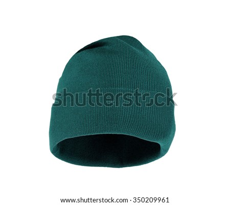 Wool knitted winter hat isolated on white background - stock photo