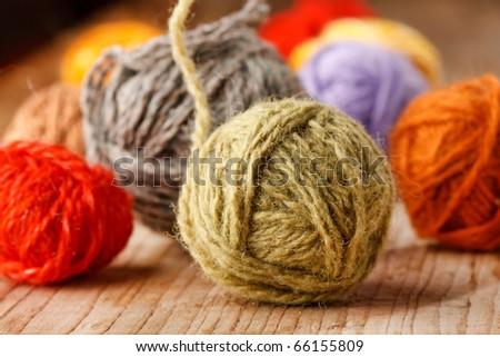 wool knitting - stock photo
