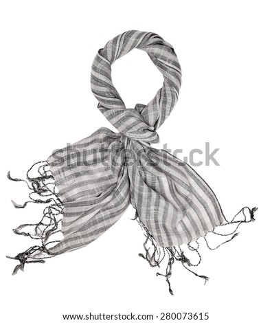Wool scarf isolated on white - stock photo