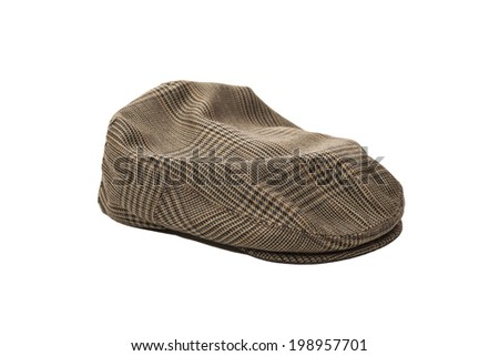 Wool tweed men's cap isolated on white background  - stock photo