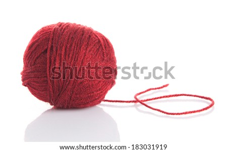 wool yarn ball isolated on white. ball of yarn for knitting - stock photo