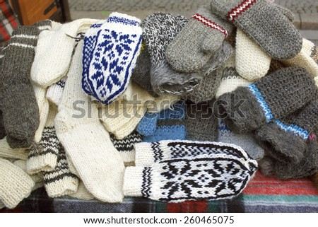 Woolen gloves for severe winter - stock photo